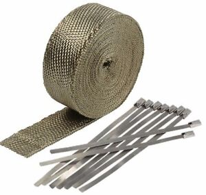 2 50ft Titanium Header Exhaust Heat Wrap 8 Ties Kit High Heat Fiberglass