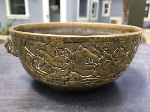 Antique Chinese Bronze Censer Incense Burner Xuande With Dragon Lion Warriors