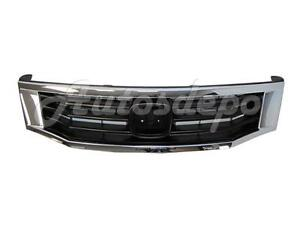 For 2008 2010 Honda Accord Grille Primed Black With Chrome Molding Trim
