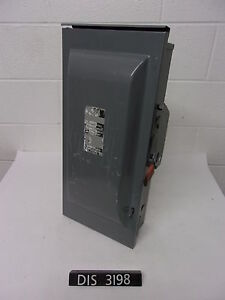 Siemens 240 Volt 100 Amp Fused Disconnect Safety Switch dis3198