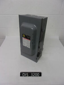 Square D 240 Volt 100 Amp Fused Disconnect Safety Switch dis3200