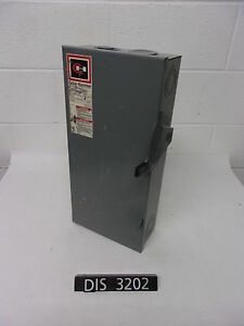 Cutler Hammer 240 Volt 100 Amp Fused Disconnect Safety Switch dis3202