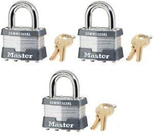 3 Ea Master Lock 1ka 2035 1 3 4 Keyed Alike Laminated Padlocks
