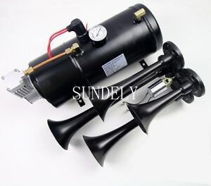 Black 4 trumpet 150 Db Truck Train Air Horn Kit Air 150psi Compressor