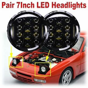 Cree 7 Inch Led Headlamp 2 Headlights Black Upgrade Light Kit For Porsche 944