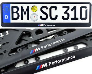 Bmw Euro Standart License Plates Frames With M Performance Logo New 2 Pcs