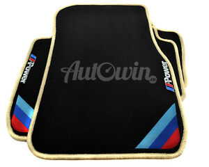 Bmw 7 Series F01 Black Floor Mats Beige Rounds With m Power Emblem With Clips