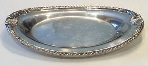 Sheffield England Marked Oval Silver Plate Tray 9 25 X 5 75 Shell Pattern