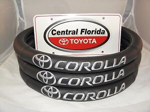 All Black With White Lettering Corolla Steering Wheel Cover