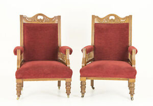 Antique Chairs Victorian Walnut Library Arm Chairs B700 Reduced