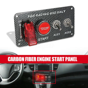 Carbon Fiber Car Ignition Switch Panel Toggle Engine Start Push Button Racing Us