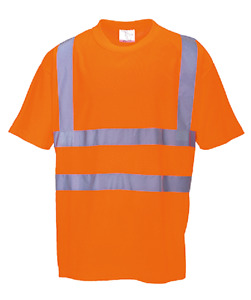 3pk Hi vis Orange T shirt Ansi isea Class 2 100 Polyester Generous Fit Xs 5xl