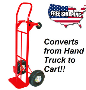 Milwaukee Hand Truck Cart 800 lb Capacity Red Steel Convertible Wheel Cart New