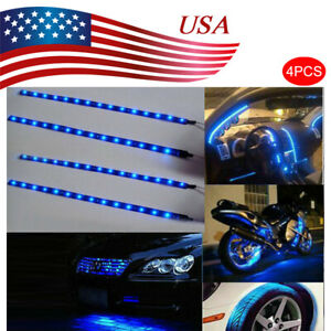 Blue 4pcs 12v 12 15smd Flexible Led Strip Light Waterproof For Car Truck Boat