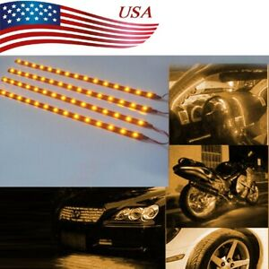 Yellow 4pcs 12v 12 15smd Flexible Led Strip Light Waterproof For Car Truck Boat