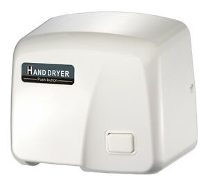 Fastdry Hk 1800ps Push Button Hand Dryer White Abs Plastic Cover 220 240v