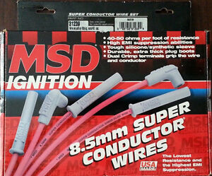 Msd 31239 Super Conductor Spark Plug Wire Set 8 Cyl 90 Plug Socket Hei Cap