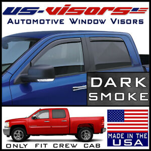 Us visors 2007 2013 Chevy Silverado 1500 Crew Cab Window Vent Visors In channel