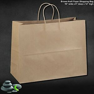 50 Paper Retail Shopping Bags Kraft With Rope Handles 16x6x12 Tote