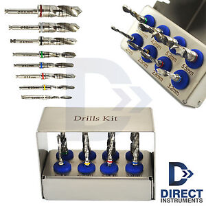 Dental Trephines Drill Kit 8 Pcs Implant Surgery Bur Holder Bone Grafting Tools