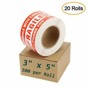 20 Roll 10000 3 X 5 Fragile Handle With Care Stickers Shipping Mailing Label