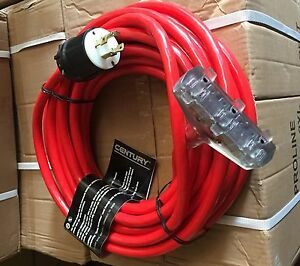 New Century Wire cable Extension 30 amp 50 Generator Cord W 3 outlets
