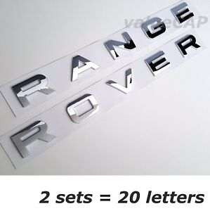 2 Sets New Range Rover Silver Chrome Letters Hood Trunk Tailgate Emblem Badge