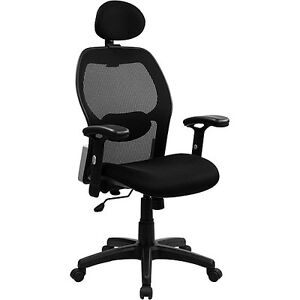 Super Mesh Back Chair With Headrest And Arms Black