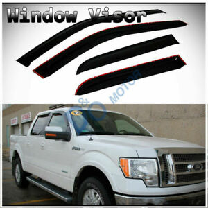 4pcs Smoke Sun Rain Guard Vent Shade Window Visors Fit 09 14 Ford F150 Crew Cab