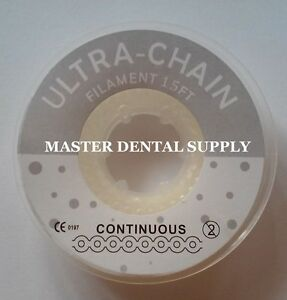 Dental Orthodontic Elastic Rubber Band Chain Braces Continuous 15 Ft Clear