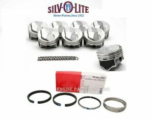 Chevy 7 4 454 Silvolite Hypereutectic 30cc Dome Pistons Moly Rings 030 Oversz