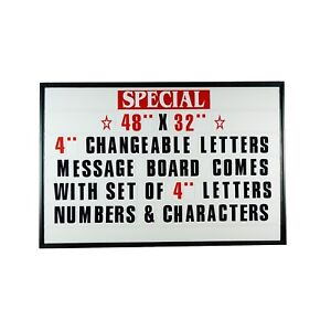 4 Outdoor Changeable Letter Message Board Marquee Sign With Metal Frame 48 x32