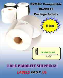 10 Rolls White 99019 Dymo Compatible Ebay Paypal 400 Duo Se200 Postage Labels