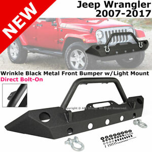 2007 2017 For Jeep Wrangler Jk Front Bumper Replacement Thick Steel Oe Size Fog