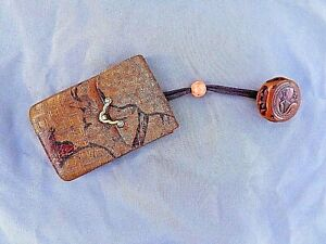 Antique Japanese Sagemono Leather Wood Coral 22k Gold