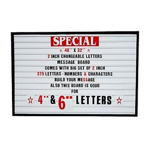 Big Changeable 2 Letters Message Sign Menu Price Marquee Reader Board 48 x 32