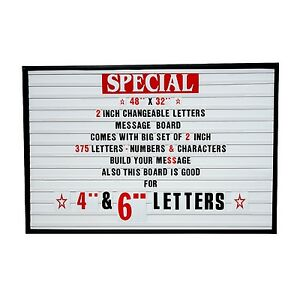 2 outdoor Changeable Letters Message Board Marquee Sign With Metal Frame 48 x32