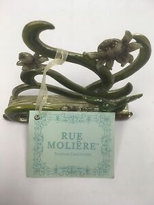 Rue Moliere Floral Metal Enamel Business Card Holder Garden Cottage Decorative