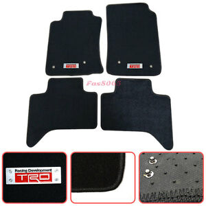For 05 10 Toyota Tacoma Floor Mats Carpets Front Rear Nylon Black Trd Emblem