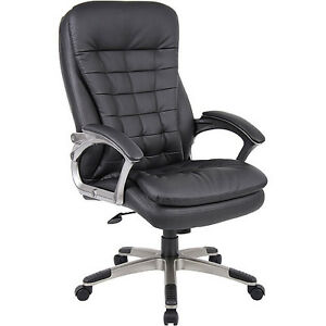 Boss High Back Executive Chair With Pewter Finished Base