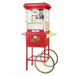 Great Northern Red Antique Style 8 ounce Popcorn Popper Machine With Cart