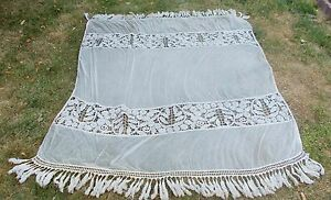 Fabulous French Antique Hand Crochet And Net Bedspread Bed Cover Circa 1900