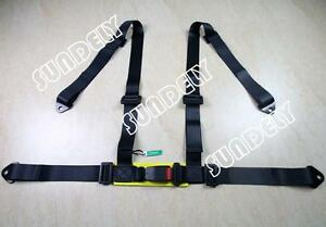 Sundely 3 4 Point Black Racing Seat Belt Harness Kit For Car Off Road 4x4