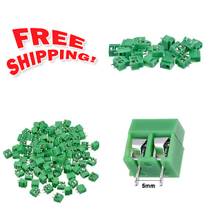 Pcb Mount Screw Terminal Block Connector 100 Pack 2 Pole 5 Mm Pitch 10a 300v