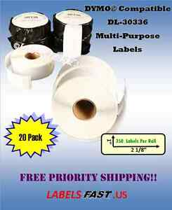20 Rolls 30336 Multipurpose Labels Waterproof El40 Compatible Dymo Labelwriters