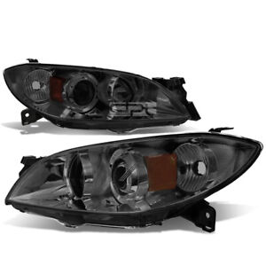 Fit 2004 2009 Mazda 3 Smoked Housing Amber Side Euro Projector Headlight Lamp