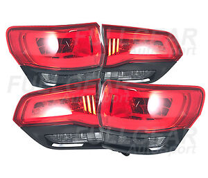 Black W Red Smoke Lens Led Tail Light Set For Jeep Grand Cherokee 2014 2017