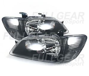 Black W Clear Headlight Pair Set For Mitsubishi Lancer 2002 2003