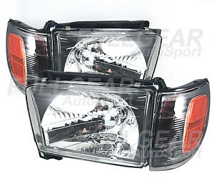 Black W Clear Headlight Corner Set For Toyota 4runner 1996 1998