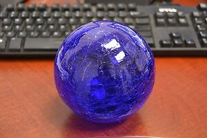 Reproduction Cobalt Blue Glass Float Fishing Ball With Hole 3 F 454ch